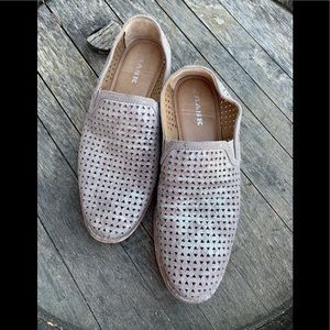 Trask laser cut Ali perf leather metallic loafer
